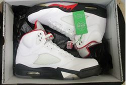 Picture of AIR JORDAN 5 RETRO WHITE/FIRE RED-BLACK SIZE 9