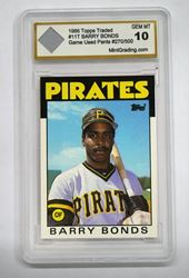 Picture of Barry Bonds 1986 Topps Traded #11T GAME USED PANTS  270/500 10 GEM MT Mint Condition